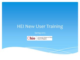 HEI New User Training