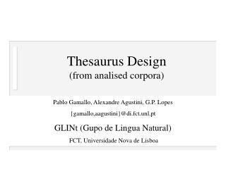 Thesaurus Design   (from analised corpora)