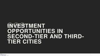 Investment opportunities in second-tier and third-tier cities