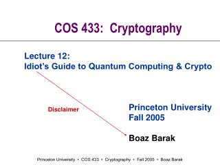 COS 433:  Cryptography