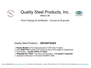 Quality Steel Products ::   ADVANTAGES