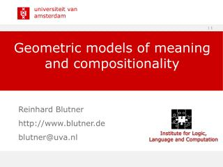 Geometric models of meaning and compositionality