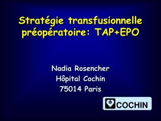 Strat gie transfusionnelle pr op ratoire: TAPEPO