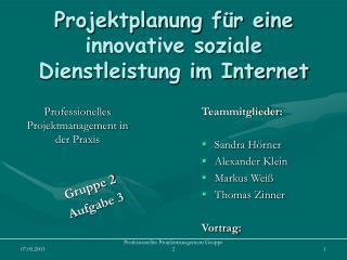 Projektplanung für eine innovative soziale Dienstleistung im Internet