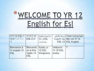 WELCOME TO  YR  12 English for  Esl