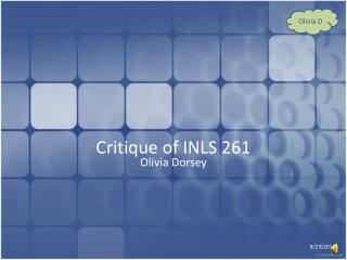 Critique of INLS 261