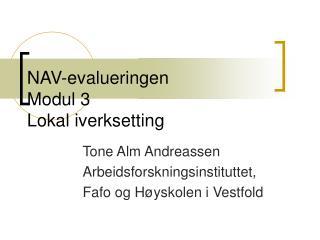 NAV-evalueringen Modul 3 Lokal iverksetting