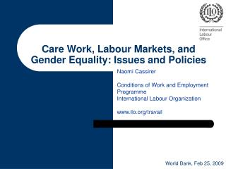 Care Work, Labour Markets, and Gender Equality: Issues and Policies