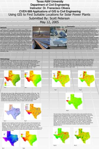 Using GIS to Find Suitable Locations for Solar Power Plants Submitted By: Scott Peterson