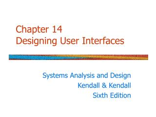 Chapter 14 Designing User Interfaces