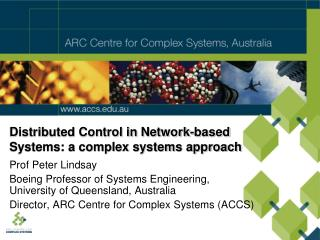 Distributed Control in Network-based  Systems: a complex systems approach