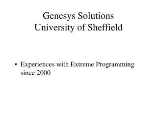 Genesys Solutions University of Sheffield