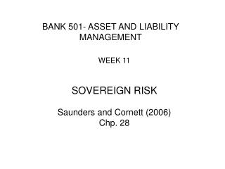 BANK  501 - ASSET AND LIABILITY MANAGEMENT