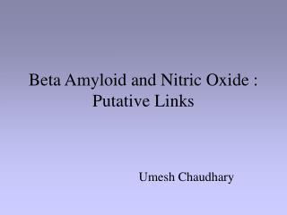 Beta Amyloid and Nitric Oxide : Putative Links
