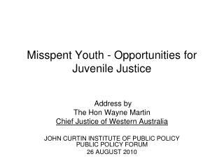 Misspent Youth - Opportunities for Juvenile Justice