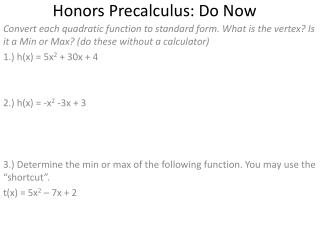 Honors  Precalculus : Do Now
