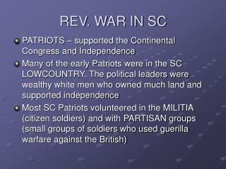 REV. WAR IN SC