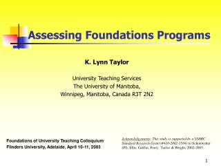 Assessing Foundations Programs