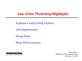 Ann Arbor Workshop Highlights