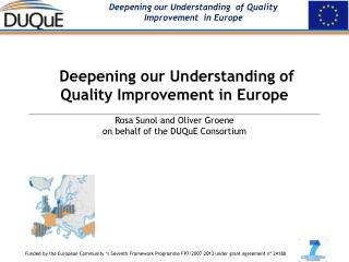 Deepening our Understanding  of  Quality Improvement  in Europe