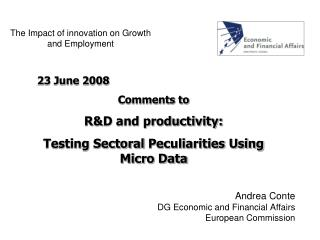 The Impact of innovation on Growth and Employment