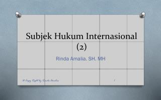 Subjek Hukum Internasional (2)
