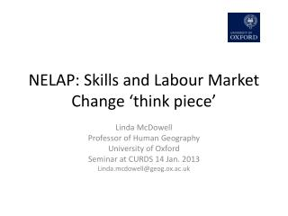 NELAP: Skills and Labour Market Change 'think piece'