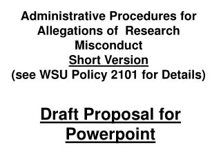 Draft Proposal for Powerpoint