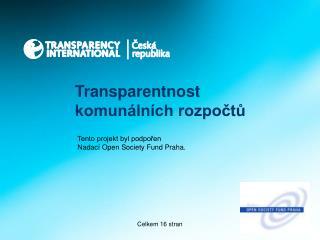 Transparentnost komunálních rozpočtů