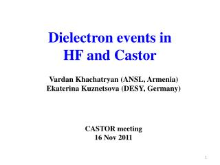 Dielectron events in  HF and Castor