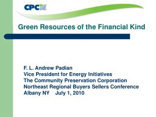 Green Resources of the Financial Kind