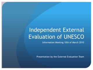 Independent External Evaluation of UNESCO