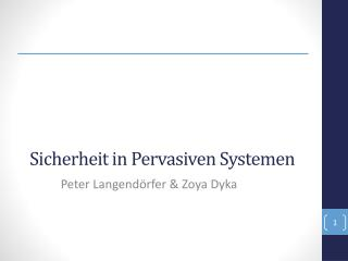 Sicherheit  in  Pervasiven  Systemen