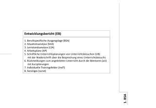 1. Berufsspezifische Ausgangslage (BSA) 2. Situationsanalyse (SitA) 3. Lernstandsanalyse (LSA)
