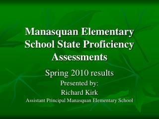 Manasquan Elementary School State Proficiency Assessments