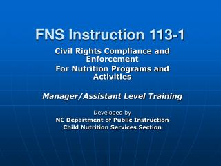FNS Instruction 113-1