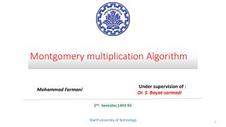 Montgomery multiplication Algorithm