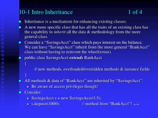 10-1 Intro Inheritance1 of 4
