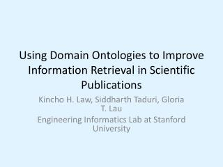 Using Domain Ontologies to Improve Information Retrieval in Scientific Publications
