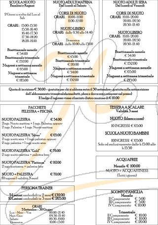 PACCHETTI  PELESTRA + PISCINA NUOTO PALESTRA                                   € 54.00