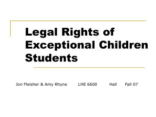 Legal Rights of Exceptional Children Students