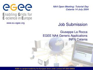Job Submission Giuseppe La Rocca EGEE NA4 Generic Applications INFN Catania