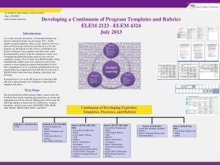 Developing a Continuum of Program Templates and Rubrics  ELEM 2123 �ELEM 4324 July 2013