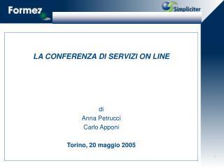 LA CONFERENZA DI SERVIZI ON LINE     di Anna Petrucci Carlo Apponi  Torino, 20 maggio 2005