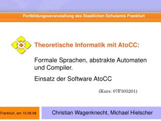 Fortbildungsveranstaltung des Staatlichen Schulamts Frankfurt