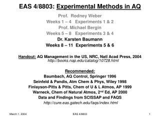 EAS 4/8803:  Experimental Methods in AQ