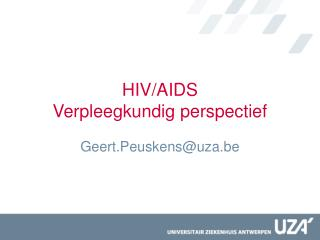 HIV/AIDS Verpleegkundig perspectief