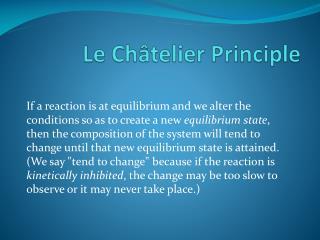 Le  Châtelier  Principle