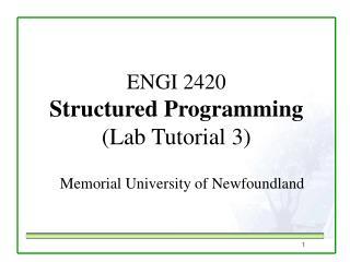 ENGI 2420 Structured Programming  (Lab Tutorial 3)