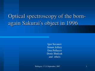 Optical spectroscopy of the born-again Sakurai's object in 1996